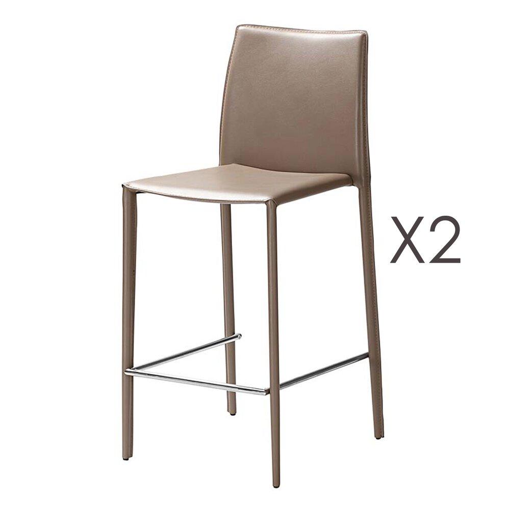 Tabouret de bar - Lot de 2 chaises de bar en cuir recyclé  coloris sable - BORA BORA photo 1