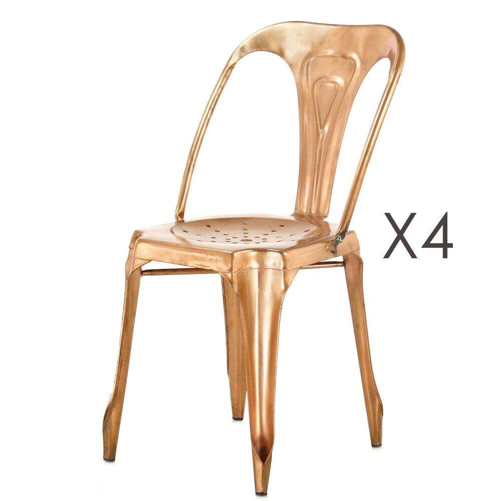 Chaise - Lot de 4 chaises en métal cuivrées brillant - TALY photo 1