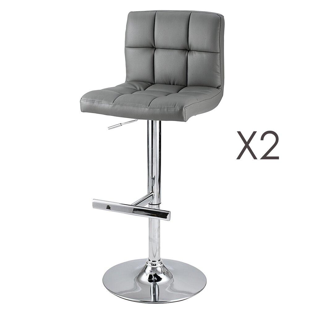 Tabouret de bar - Lot de 2 chaises de bar coloris gris - JOAHAN photo 1