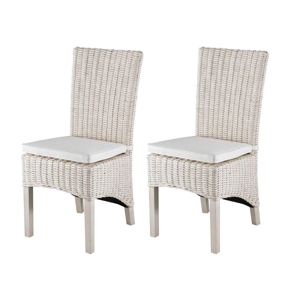 Chaises - Lot de 2 chaises en kubu pieds teck teinté blanc - SUCCESS photo 1