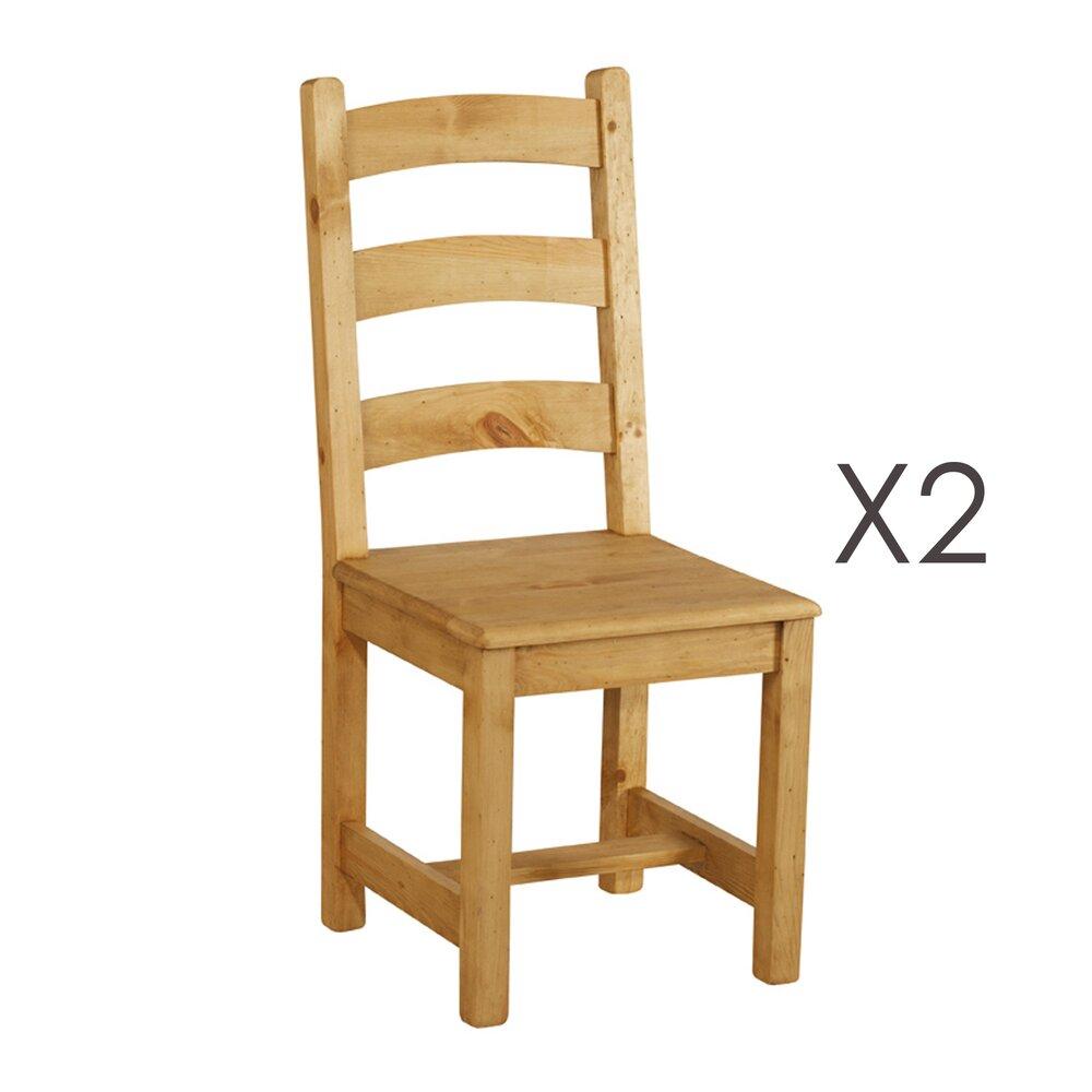 Chaise - Lot de 2 chaises repas en pin - TERRO photo 1