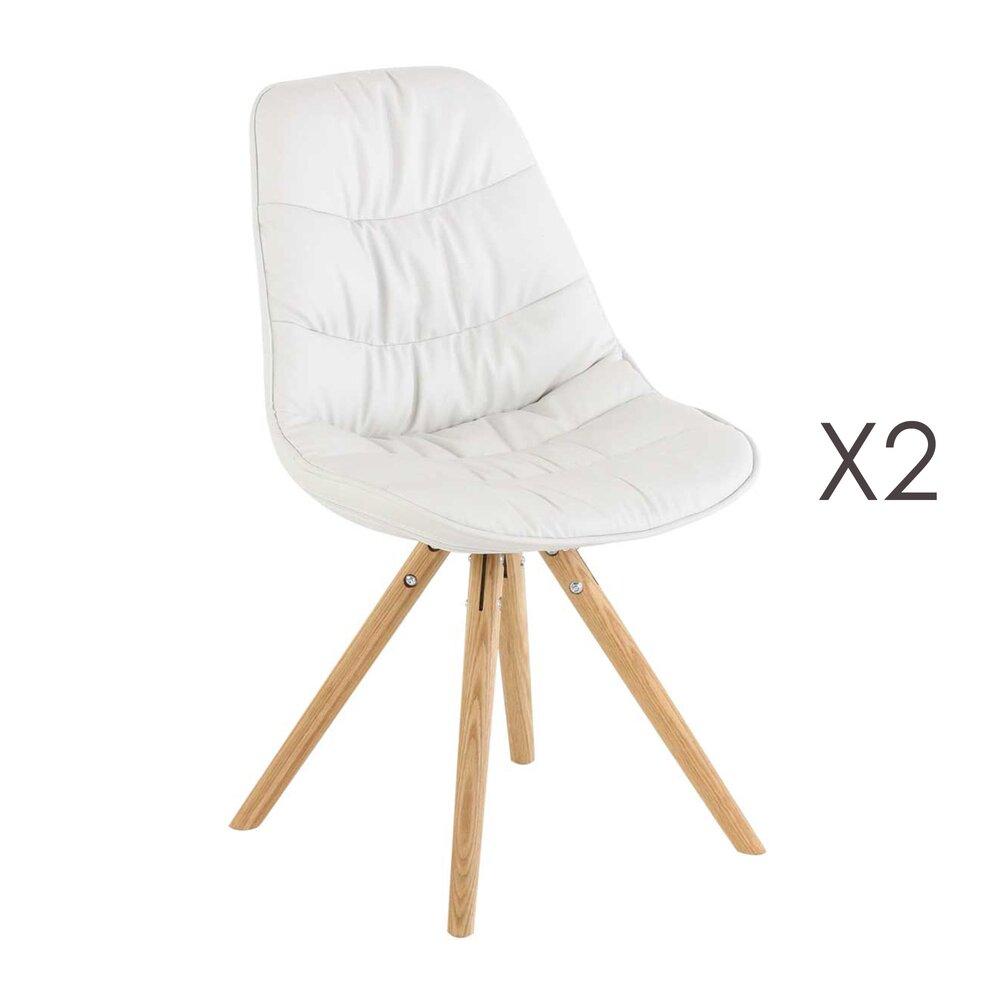 Chaise - Lot de 2 chaises matelassées coins arrondis coloris blanc - LUCIE photo 1