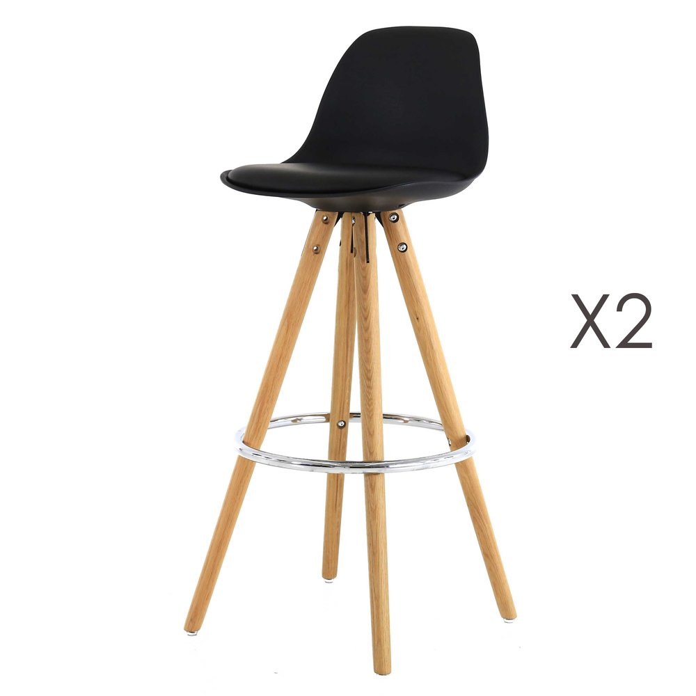Tabouret de bar - Lot de 2 chaises de bar coloris noir - CIRCOS photo 1