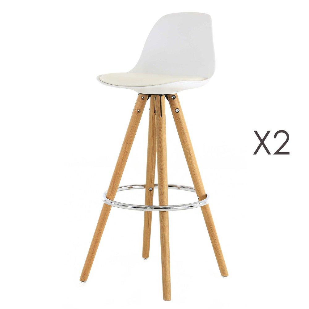 Tabouret de bar - Lot de 2 chaises de bar coloris blanc - CIRCOS photo 1