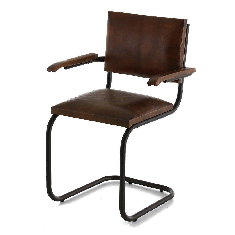 Chaise - Lot de 2 chaises avec accoudoirs en cuir - RETRO photo 1