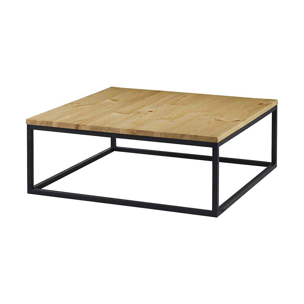 Table Basse Carree 100 Cm Bois Et Metal Ciudad Maison Et Styles