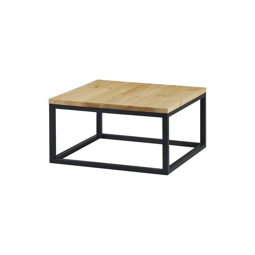 Table basse carrée 7 cm bois et métal - CIUDAD