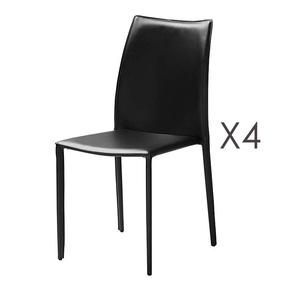 Chaise - Lot de 4 chaises repas coloris noir  - KIMY photo 1