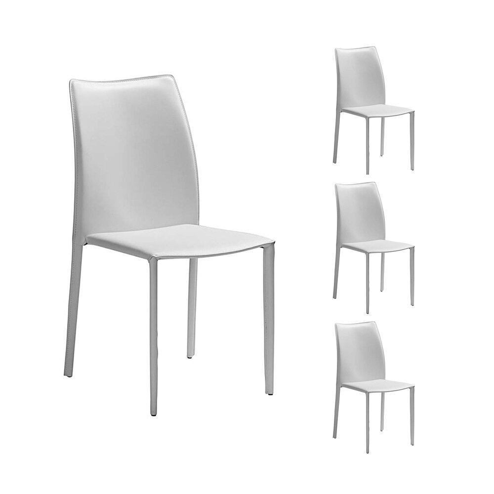 Chaise - Lot de 4 chaises repas coloris blanc  - KIMY photo 1