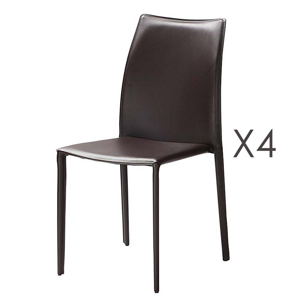 Chaise - Lot de 4 chaises repas coloris marron  - KIMY photo 1