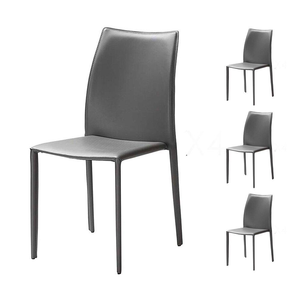 Chaise - Lot de 4 chaises repas coloris gris  - KIMY photo 1