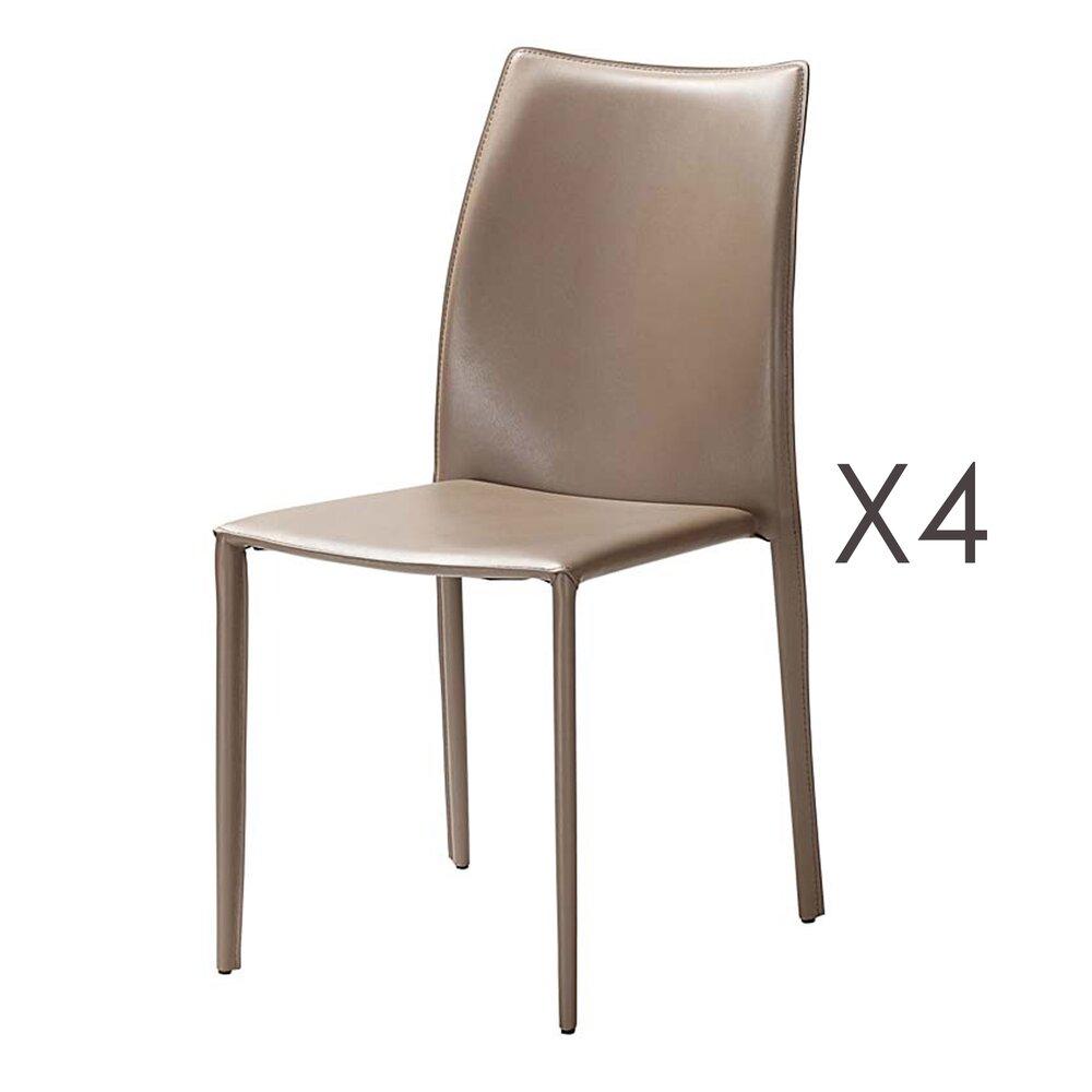 Chaise - Lot de 4 chaises repas sable  - KIMY photo 1