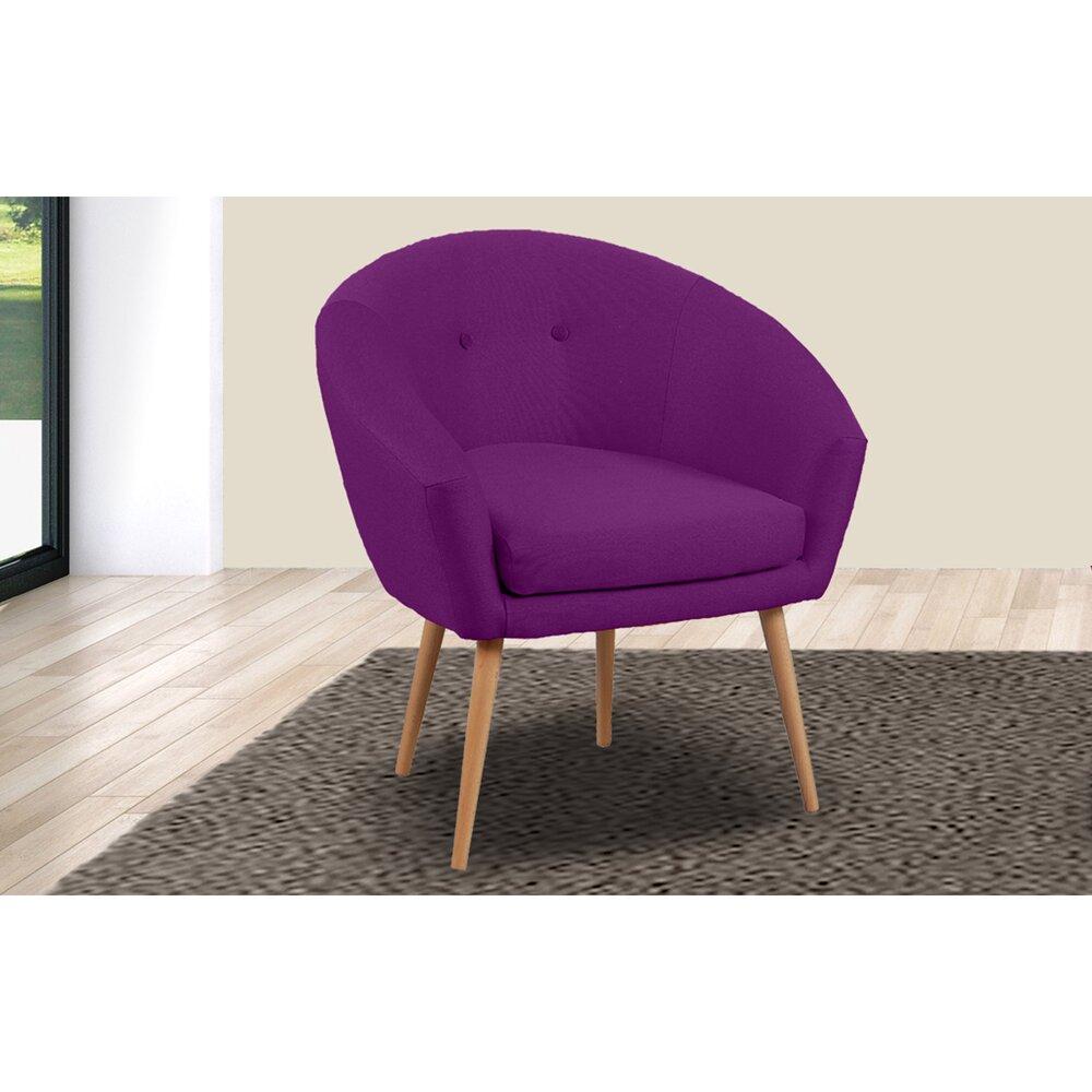 Canapé - Fauteuil - Fauteuil dossier arrondi en tissu violet - AVENTY photo 1