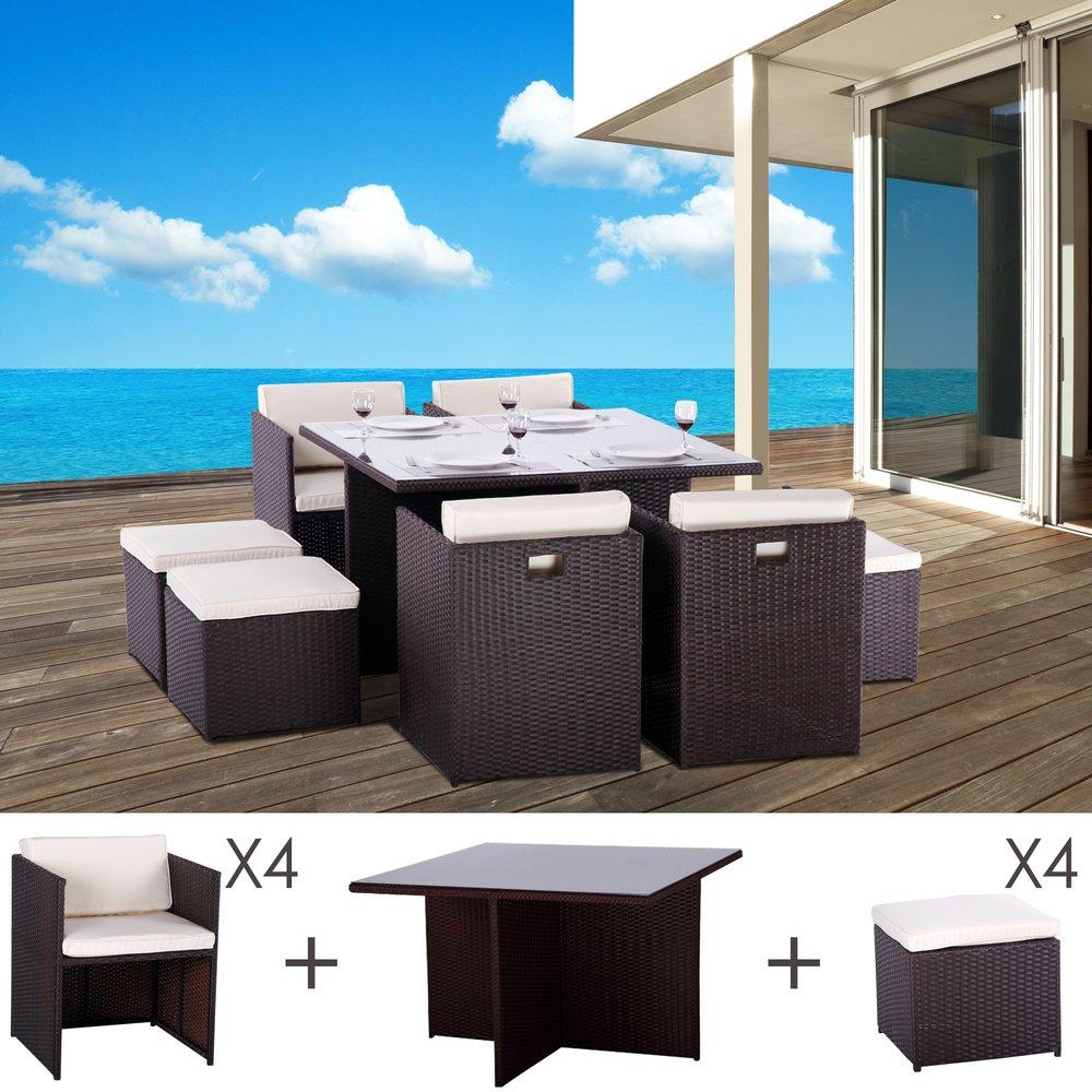 Meuble de jardin - Table et fauteuils de jardin encastrables en résine tressée 8 places KUBO choc photo 1
