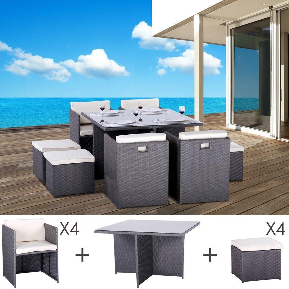 Meuble de jardin - Table et fauteuils de jardin encastrables en résine tressée 8 places KUBO gris photo 1