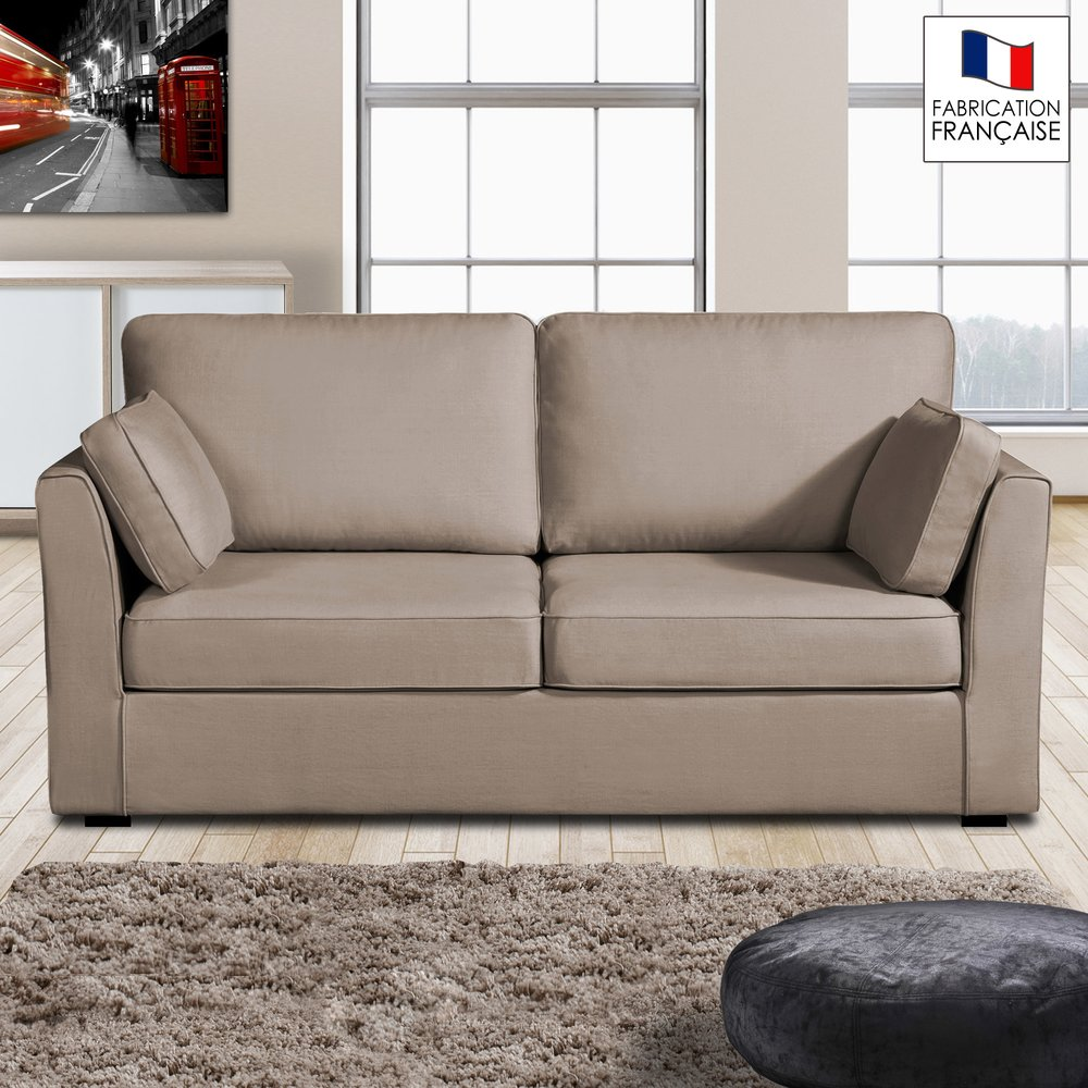 Canapé - Canapé 3 places fixes - 100% coton - coloris havane CHARLES photo 1