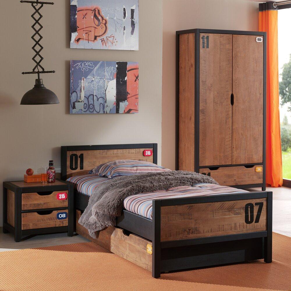 Chambre - Ensemble lit 90x200 cm + chevet + tiroir + armoire marron - BORY photo 1
