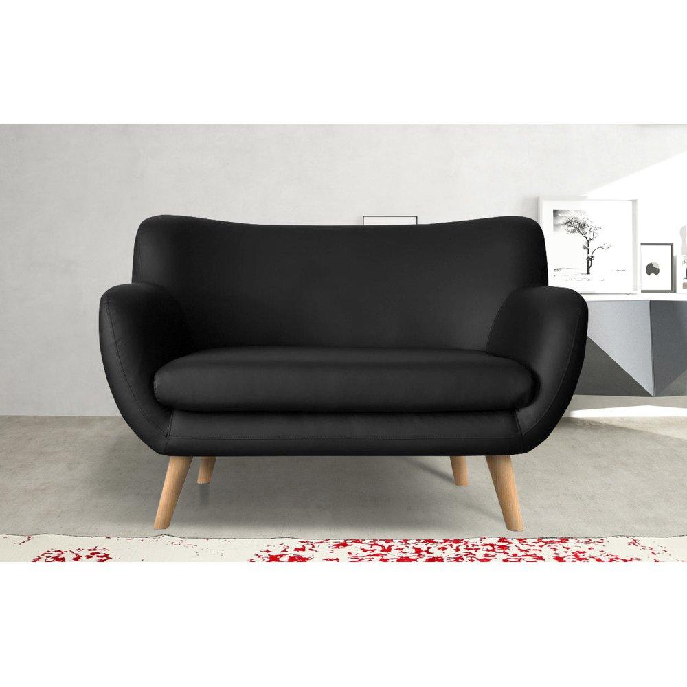 Canapé - Canapé 2 places en PU noir, pieds hêtre - ALPHA photo 1