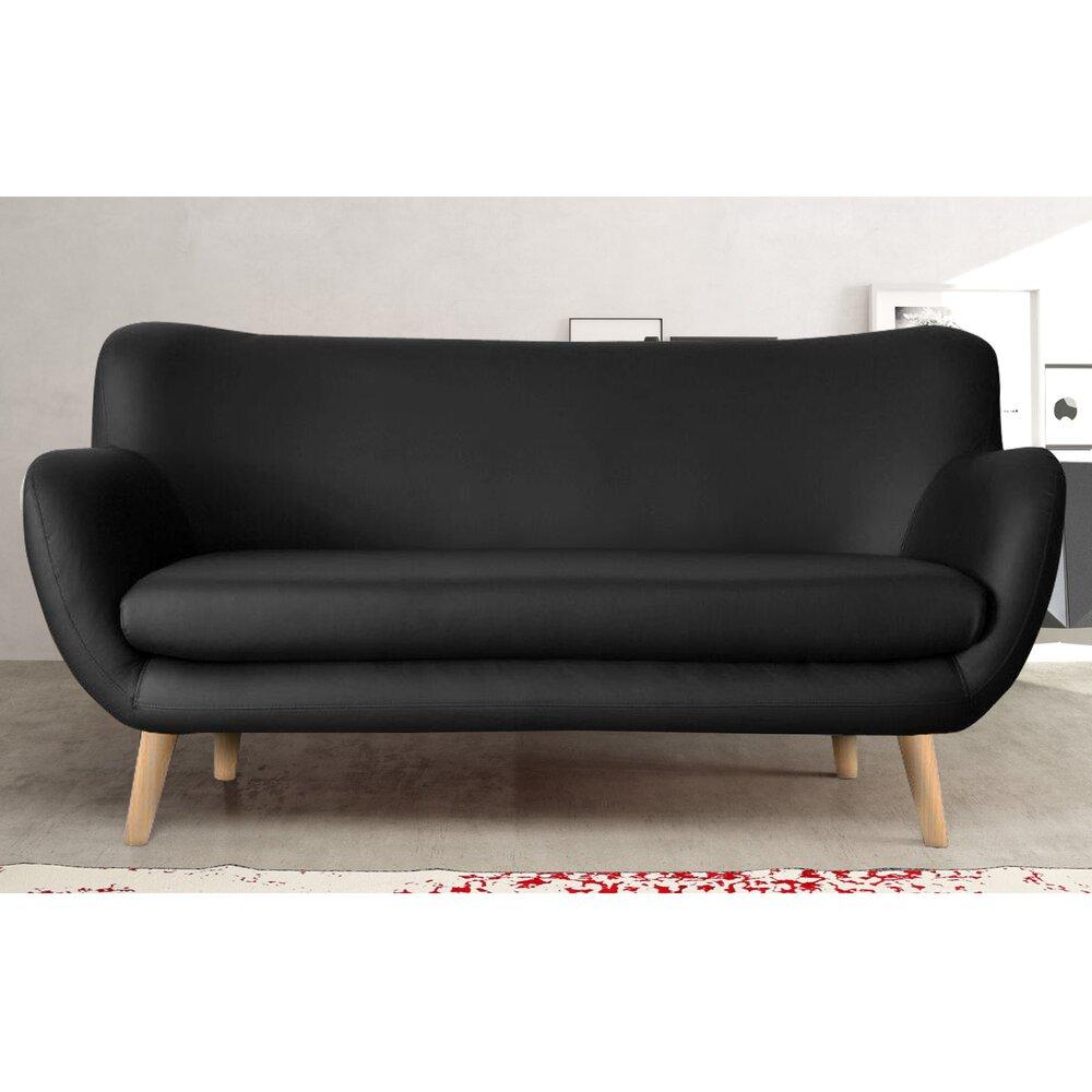 Canapé - Canapé 3 places en PU noir, pieds hêtre - ALPHA photo 1