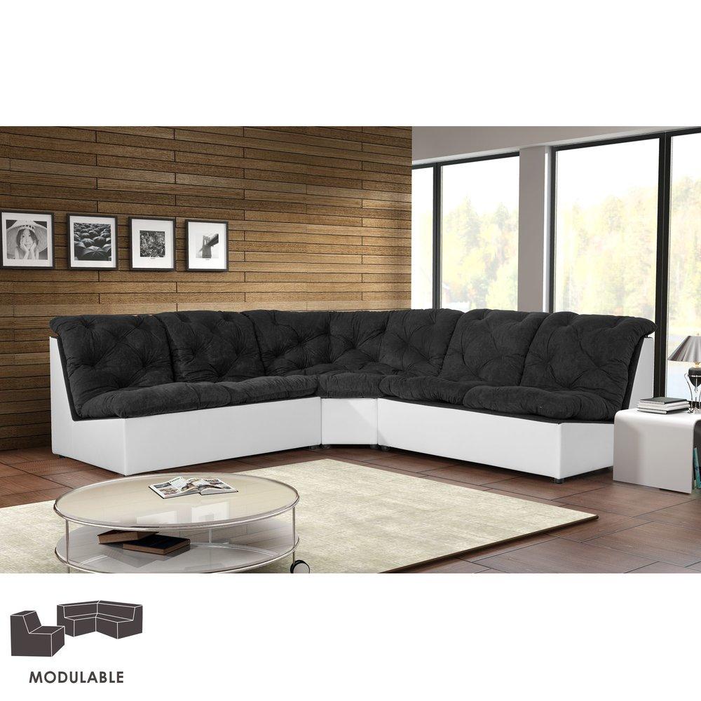 Canapé - Canapé modulable 249cm en PU et microfibre noir photo 1