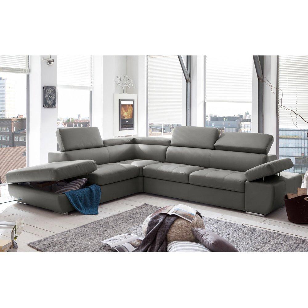 Canapé - Canapé d'angle fixe avec coffre gauche en PVC gris clair MEDINA photo 1