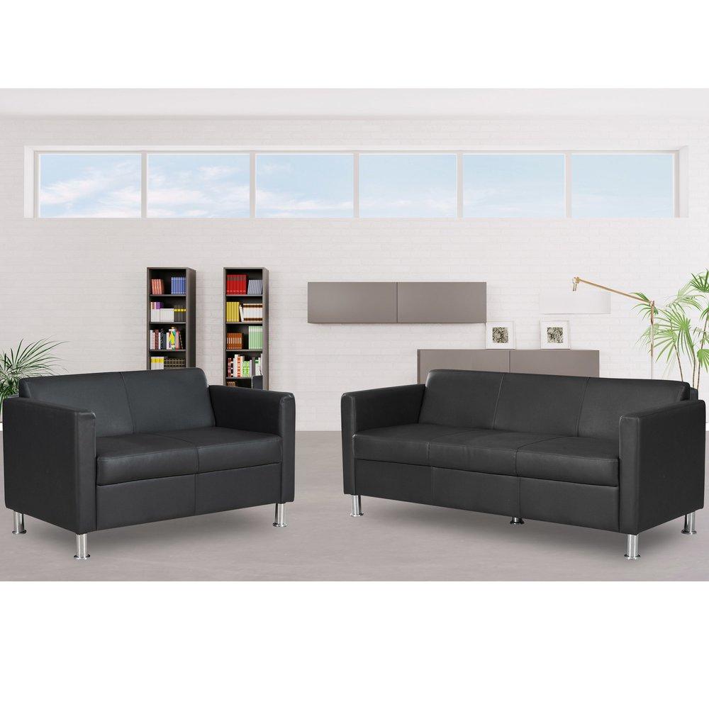 Canapé - Ensemble 3+2 places fixes en PVC noir MODENA photo 1