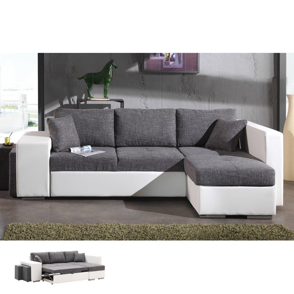 Canapé - Canapé d'angle à droite convertible gris et PVC blanc PALENCIA photo 1