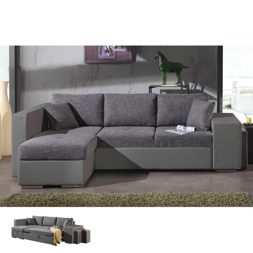 Canapé - Canapé d'angle à gauche convertible gris et PVC gris PALENCIA photo 1