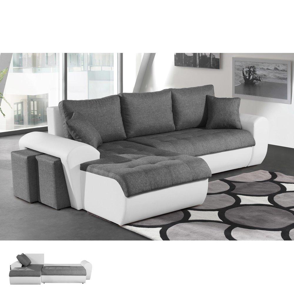 Canapé - Canapé d'angle convertible à gauche gris et PVC blanc LIZON photo 1