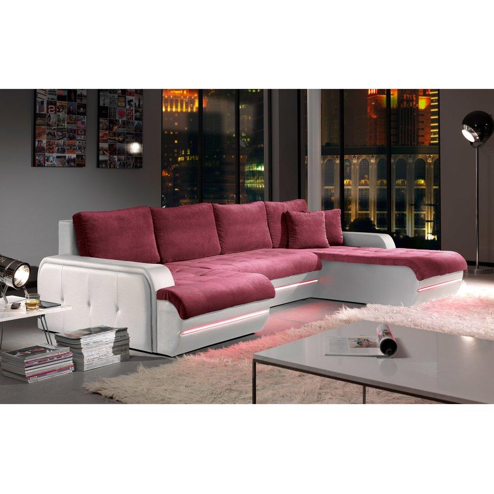 Canapé - Canapé d'angle fixe à droite avec led aubergine et blanc PLANETE photo 1