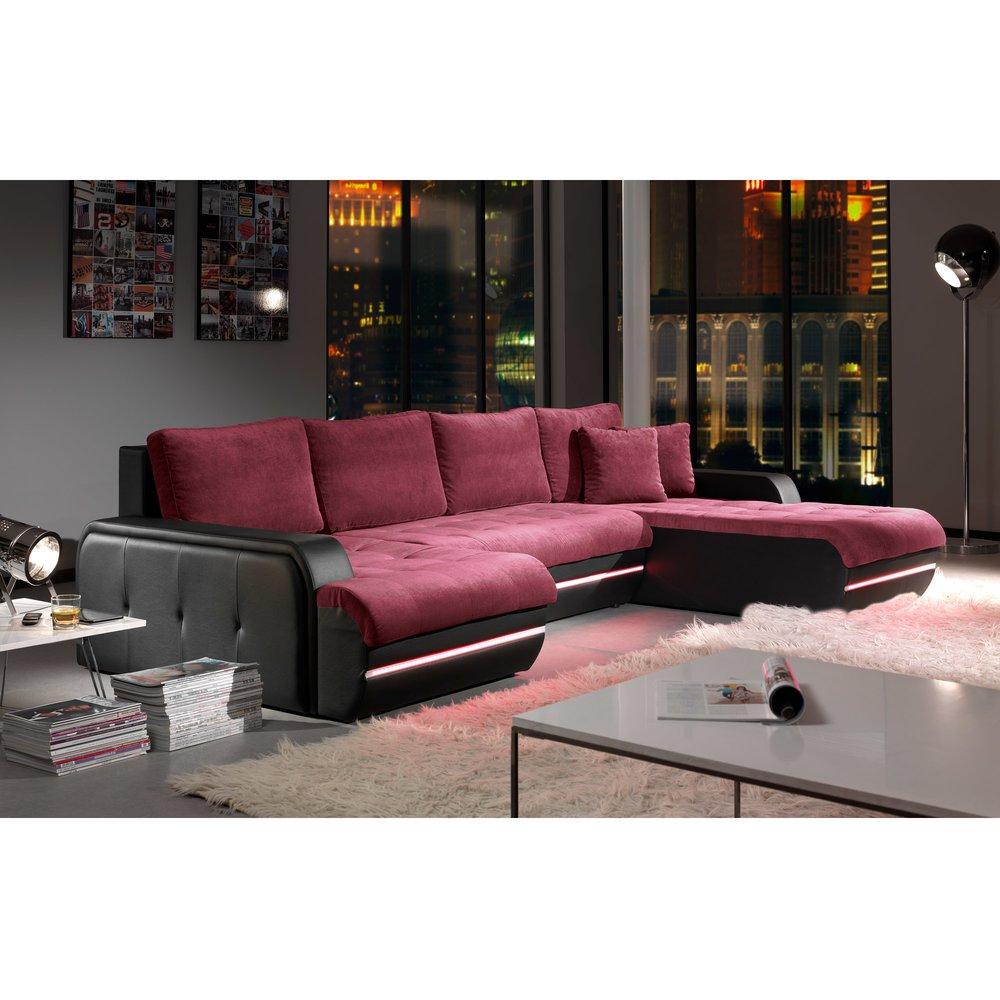Canapé - Canapé d'angle fixe à droite avec led aubergine et noir PLANETE photo 1