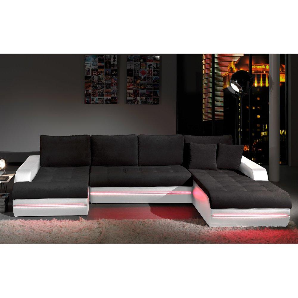 Canapé - Canapé d'angle fixe à droite avec led blanc PLANETE photo 1