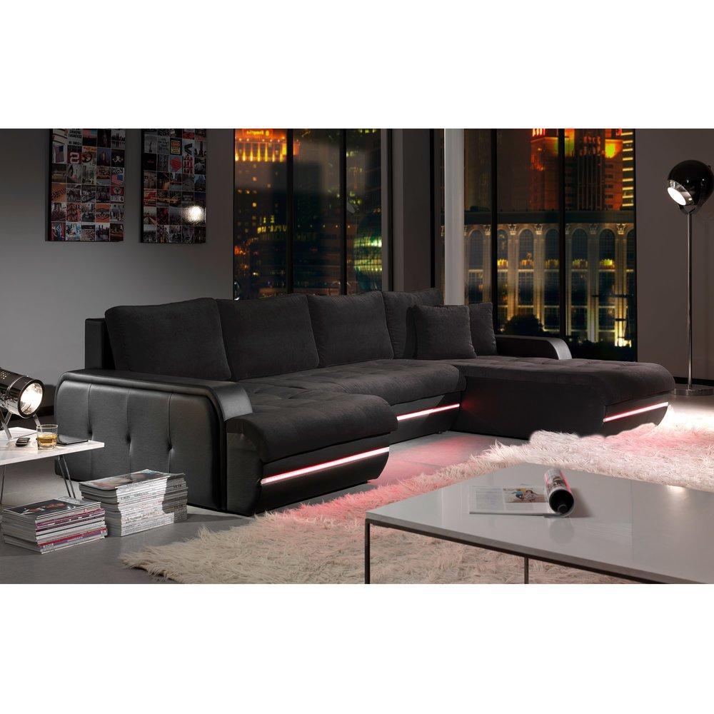 Canapé - Canapé d'angle fixe à droite avec led noir PLANETE photo 1