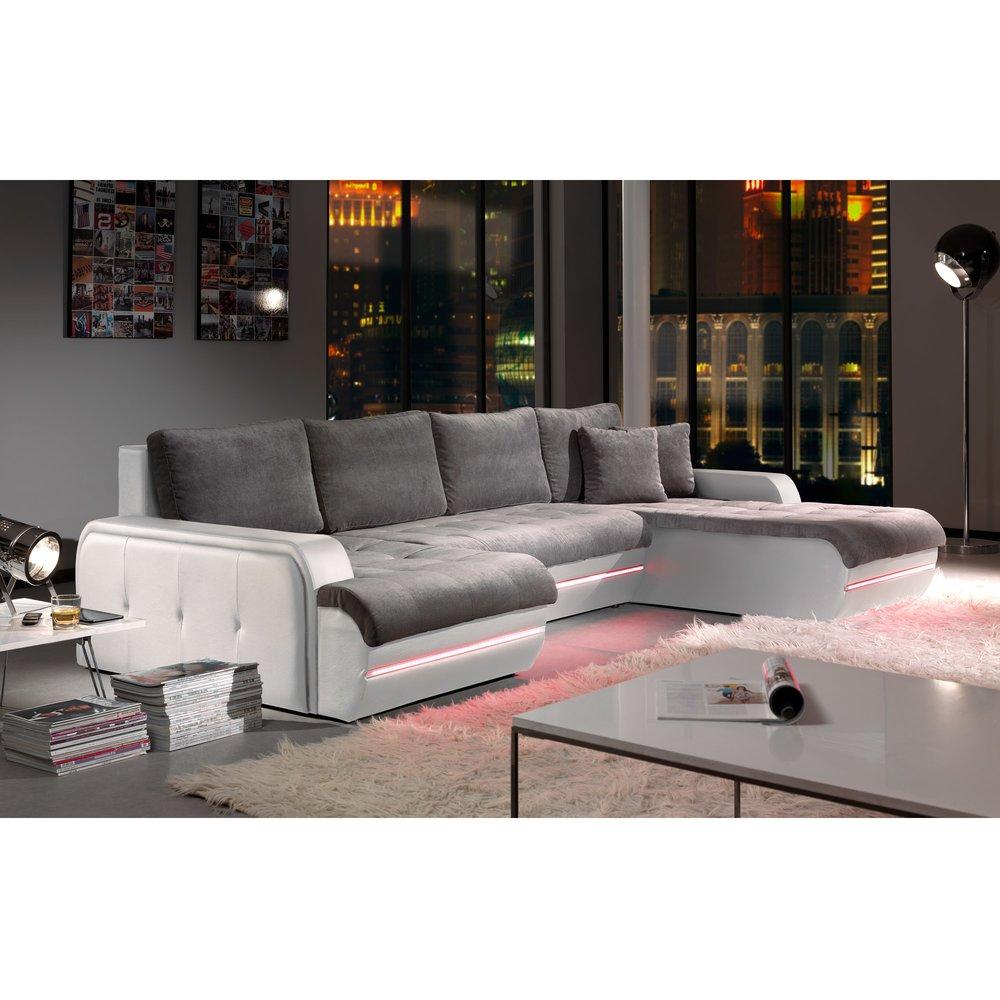 Canapé - Canapé d'angle fixe à droite avec led gris et blanc PLANETE photo 1