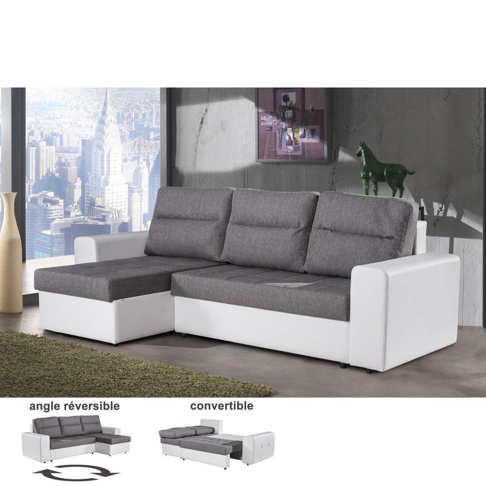Canapé - Canapé d'angle réversible convertible gris et blanc STECY photo 1