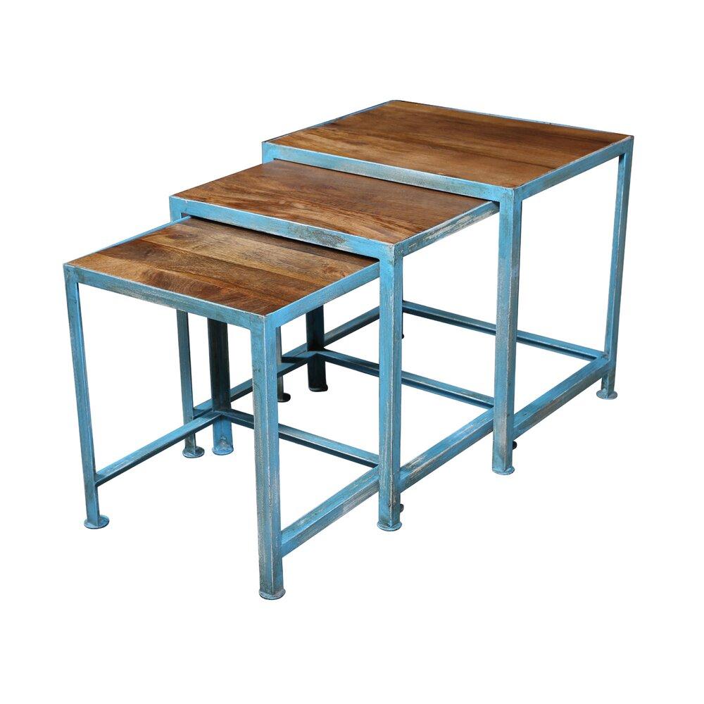 Table basse - Ensemble de 3 tables gigognes en acier vieilli ATELIER METAL photo 1