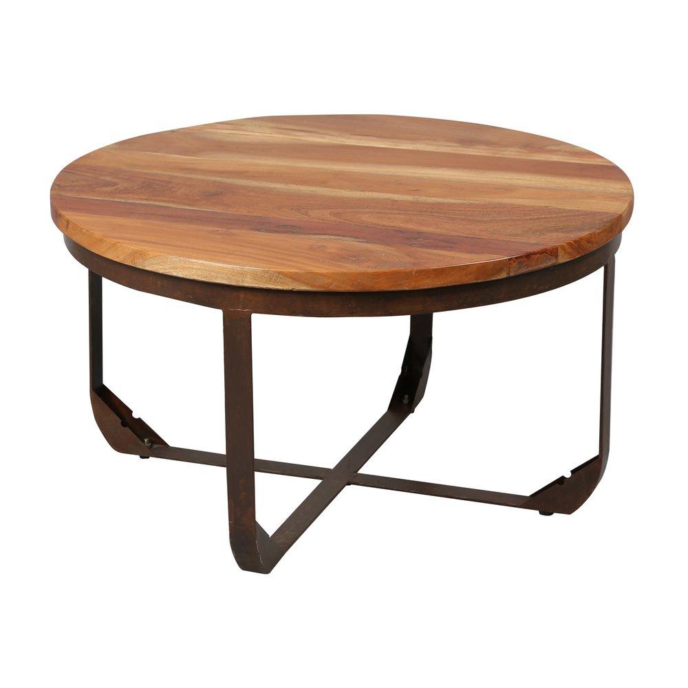 Table ronde structure m tal plateau bois maison et styles Table basse ronde bois et metal