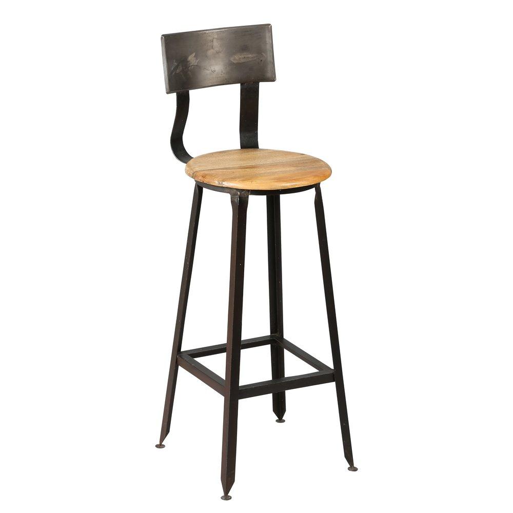 Tabouret de bar - Chaise de bar en acier assise bois ATELIER METAL photo 1