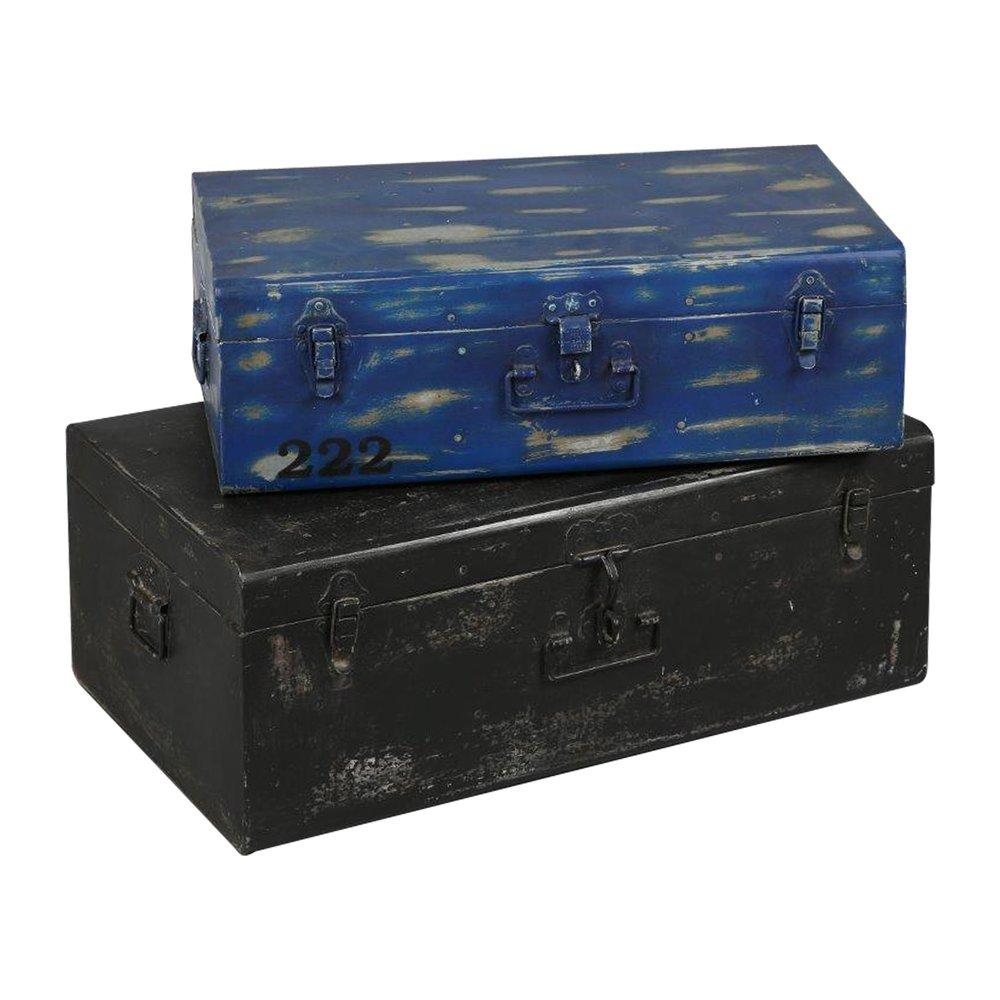 Autres rangements - Lot de 2 malles en acier noir et bleue ATELIER METAL photo 1