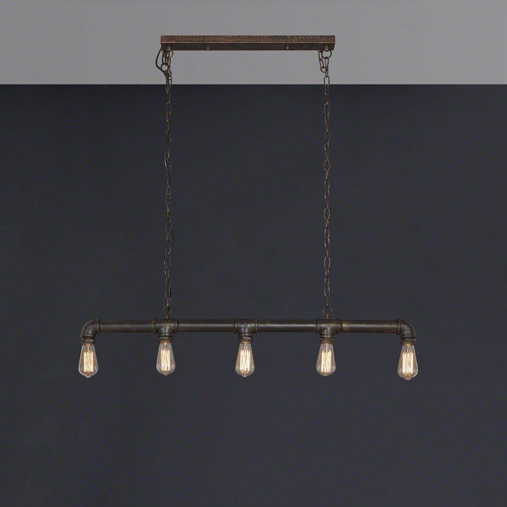 Luminaire - Suspension industriel tuyau 5 lampes photo 1
