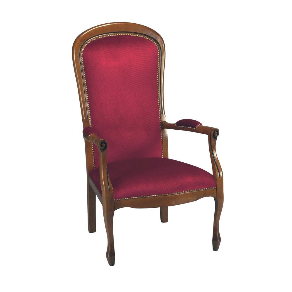 Fauteuil - Voltaire tissu velours rouge en hêtre massif teinté merisier photo 1
