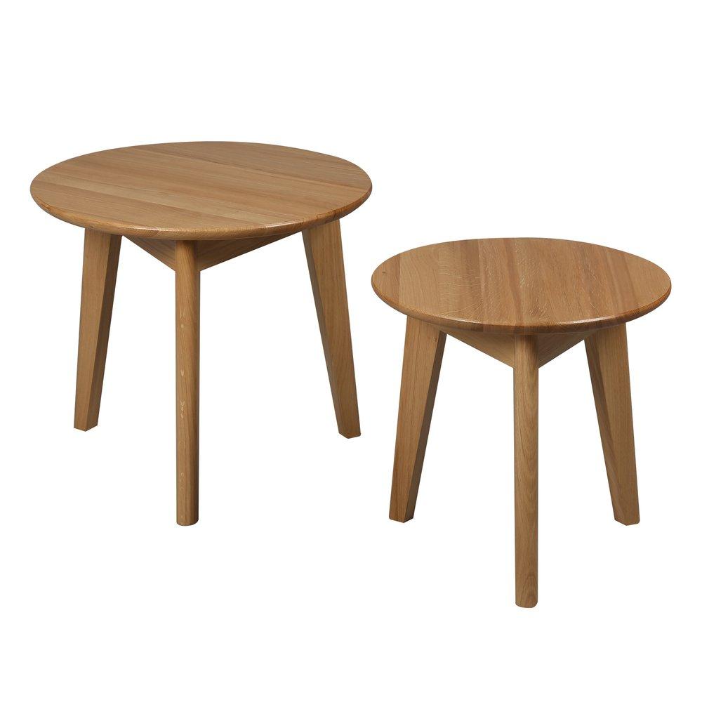 Table basse - Set de 2 tables basses en chêne massif - TRENDY photo 1