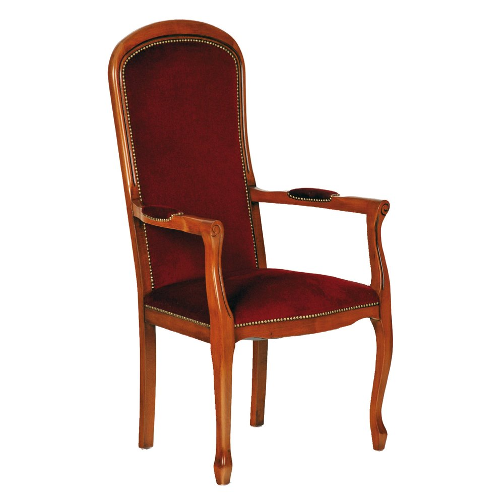 Fauteuil - Voltaire assise haute velours bordeaux en hêtre massif teinté merisier photo 1