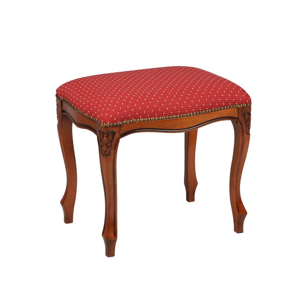 Tabouret - Tabouret rectangulaire assise bordeaux moucheté beige photo 1