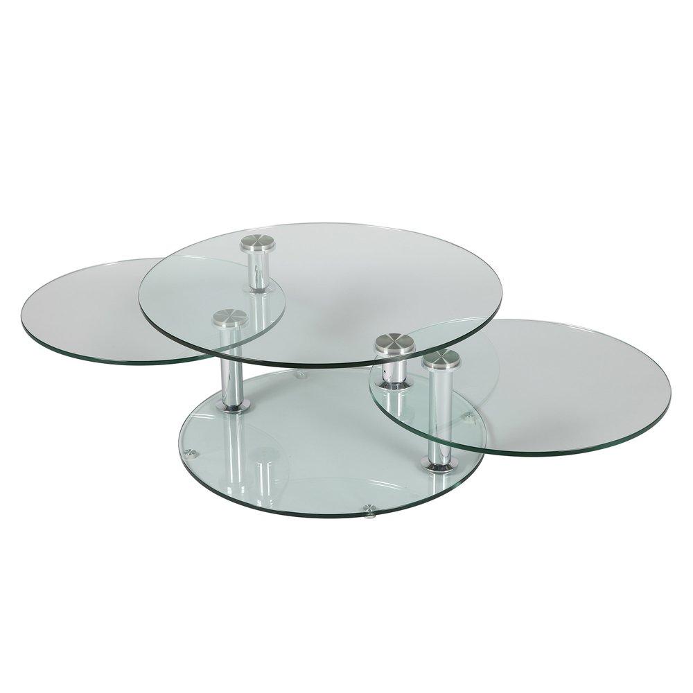 Table basse - Table basse 3 plateaux ovales en verre trempé - GLASS photo 1