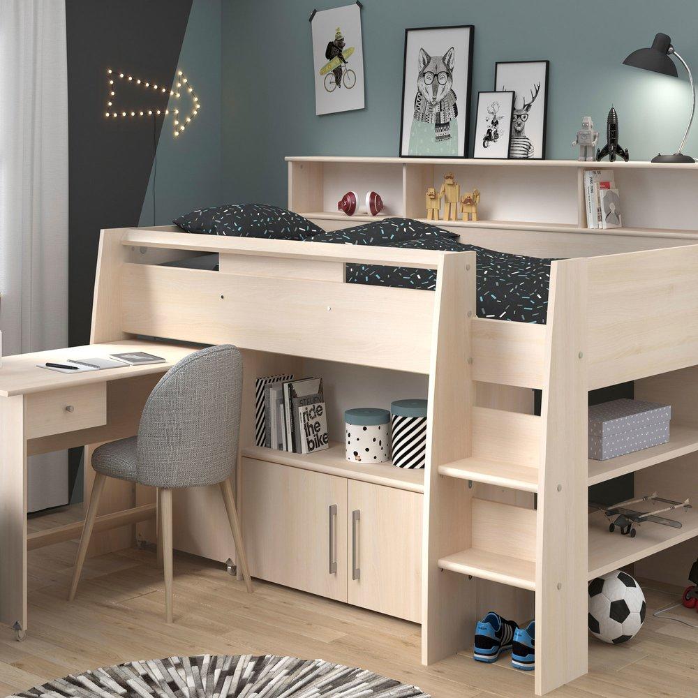 Lit enfant - Lit combiné 90x200 avec commode et bureau photo 1