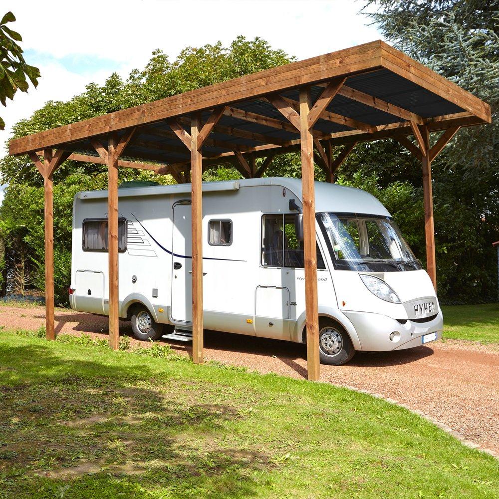 Abris, garages et serres - Carport autoportant en bois traité autoclave pour camping car 4x8m photo 1