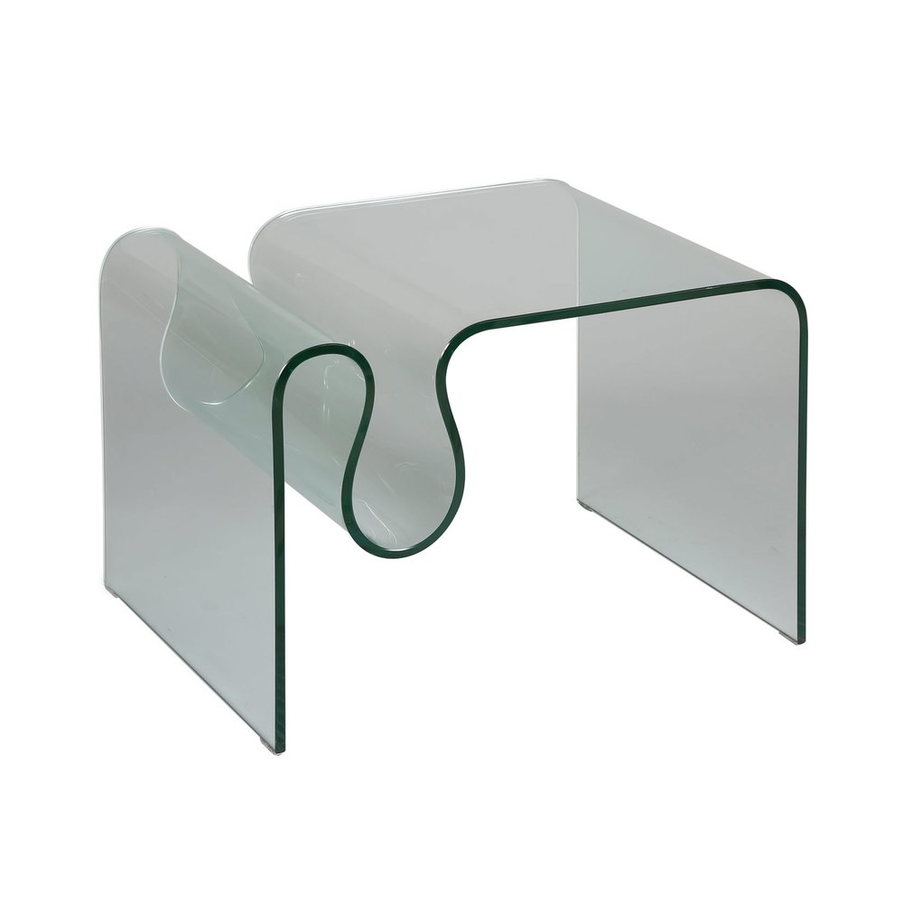 Bout de canapé - Bout de canapé porte-revues en verre trempé - GLASS photo 1