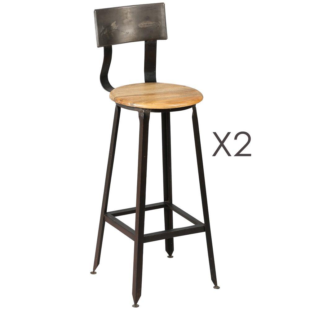 Tabouret de bar - Lot de 2 chaises de bar en acier assise bois ATELIER METAL photo 1
