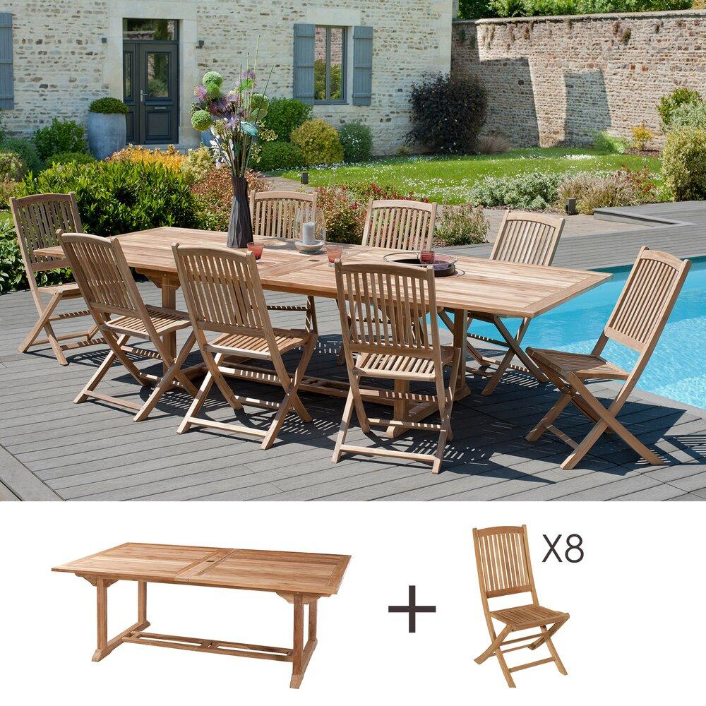 Meuble de jardin - Ensemble 1 table rectangulaire 200*300/120 cm + 4 lots de 2 chaises photo 1